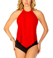 MagicSuit Solid Nicole Shelly Ruched Halter Tankini Swim Top 453669