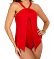 MagicSuit Solid Tara Twist Neck Halter One Piece Swimsuit 453684
